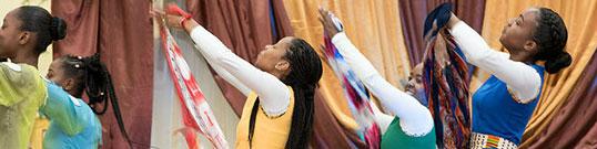 dancers in church